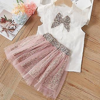 Set di abbigliamento per ragazze con t-shirt e gonna senza maniche estive (rosa)