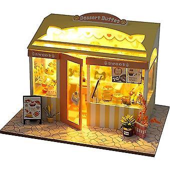 Puppenhaus Miniaturpuppe mit LED Licht Haus kreative handmontierte kleine Laden Modell Kinder Spielzeug