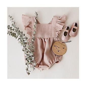 Baby Girls Cotton Linen Romper Ruffle Bodysuit Sling Jumpsuit