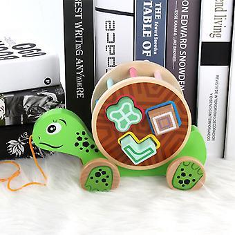 Drewniana przyczepa dla dzieci Zabawki modelowe dla zwierząt Pasujące drewniane kognitywne klocki edukacyjne zabawki dla dzieci (żółw)