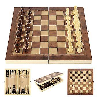 Piezas de ajedrez de madera 3 en 1, tablero de ajedrez plegable, juguetes educativos, juego de ajedrez, backgammon