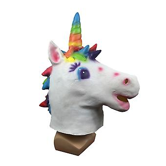 Halloween Party Latex Mask Stage Performance Props Color Unicorn Mask Cos Dress Up