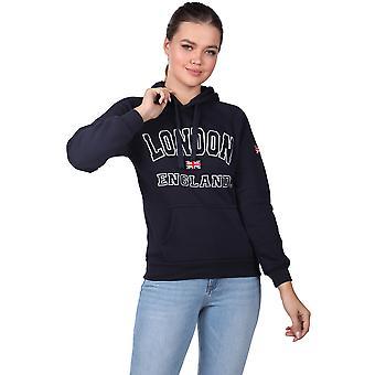 London England Appliqu Fleece Inne Navy Blå Hettegenser Dame Sweatshirt