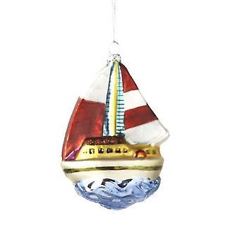Sail Away Sailboat Christmas Holiday Ornament