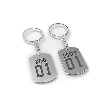 King 01 and Queen 01 Couple Key Ring Set Matching Keychains Christmas Gift Idea