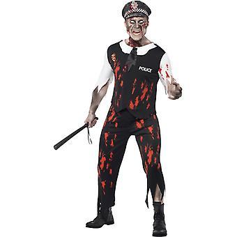 Zombie kostume betjent med en top slips del af latex bukser og hat Str. L