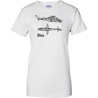 MI-24 HIND Russian Attack Helicopter Gunship - Ladies T Shirt