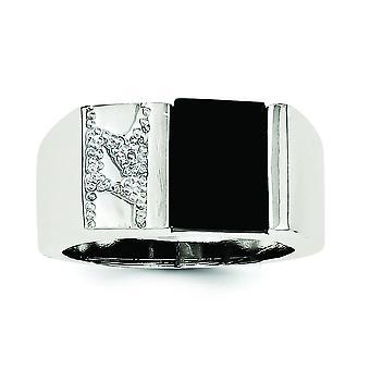 925 Gümüş Katı Dokulu Cilalı Açık arka Mens Erkekler için Simüle Onyx Yüzük Takı Hediyeler - Yüzük Boyutu: 9-1
