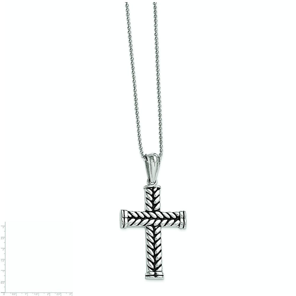 Stainless Steel Polished Fancy Lobster Closure Black Plated Religious Faith Cross Pendant. Necklace Jewelry Gifts for Wo