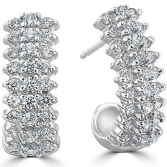 """1 3/8 cttw diamants cerceaux 14k or blanc 3/4"""" Tall"""
