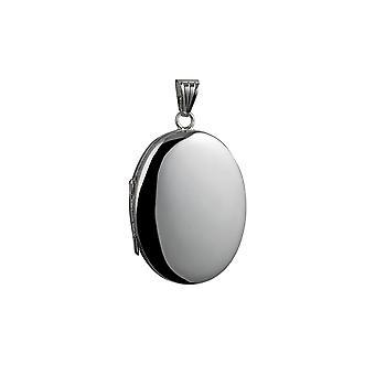 35x26mm Oval schlicht 4 Foto Familie Medaillon Silber
