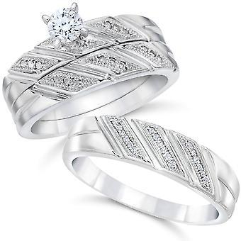 1 / 3ct seine & Ihr Diamant-Trio Engagement Trauring Set 10K Weißgold