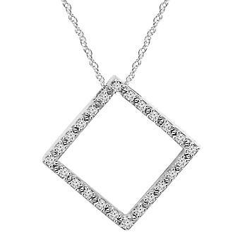 1/4CT Diamond Pendant 10K White Gold 7/8