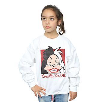 Disney Girls Cruella De Vil Cropped Head Sweatshirt