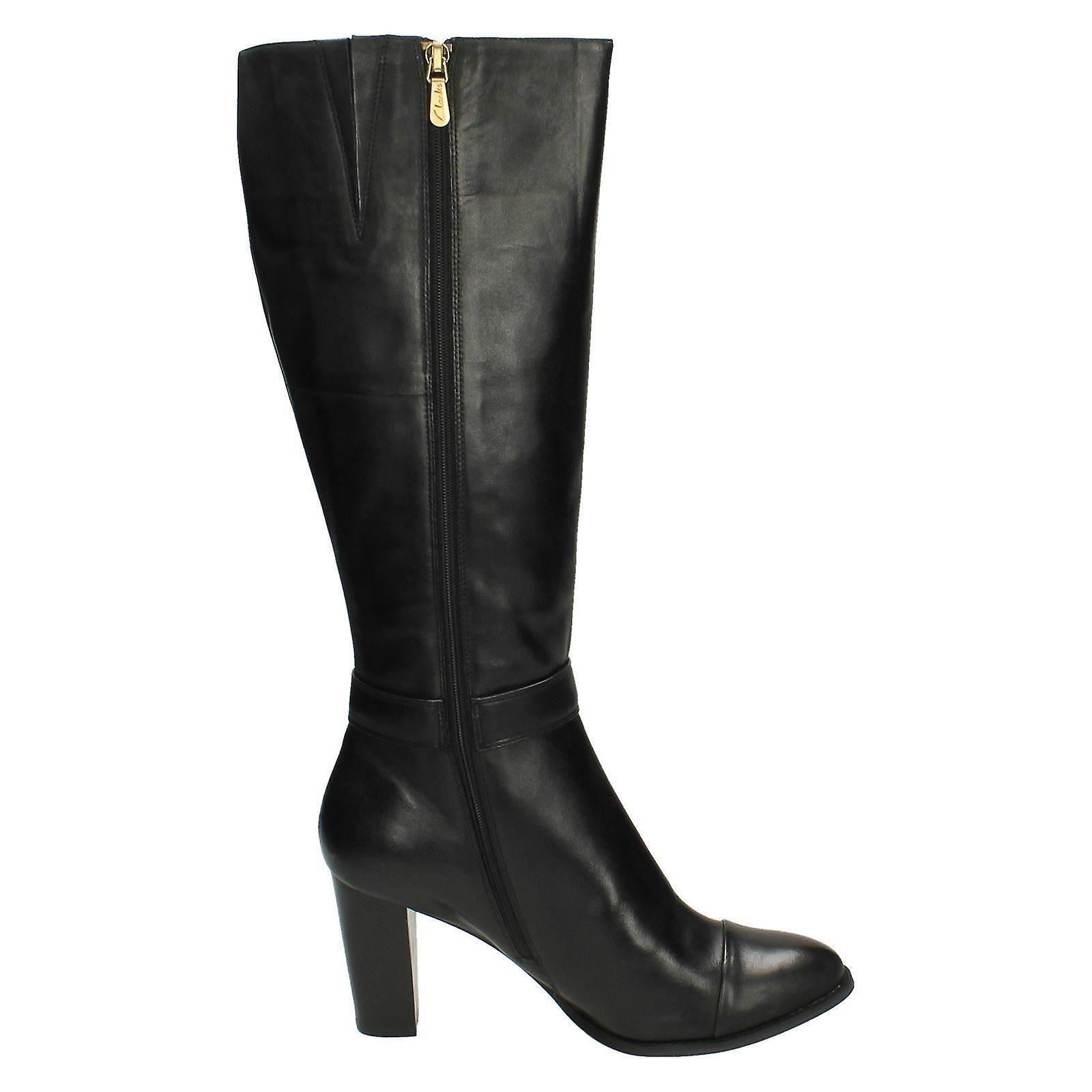 Ladies Clarks Leather Knee High Boots 'lorin Alfresco' Black Uk 7d, Eu 41