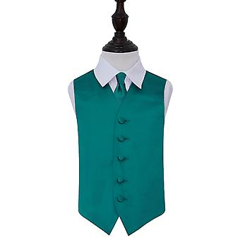 Teal Plain Satin Wedding Vest & Tie Set voor jongens