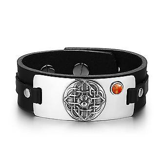 Wolf patte bouclier celtique noeud amulette magique Tag jaspe rouge pierre gemme réglable noir Bracelet en cuir