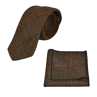 Lyxbilhyra Dijon fiskbensmönster kontrollera slips & Pocket Square Set, Tweed