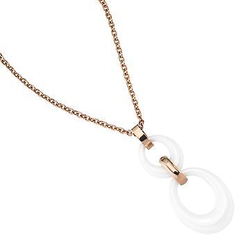 chaine collier en or avec pendentif en acier inoxydable rose or recouvert de céramique 47 cm