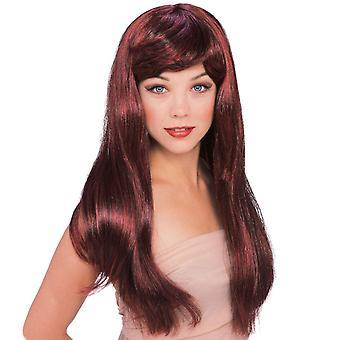 Glamour Auburn Deluxe pitkät hiukset Fringe muoti naisten puku Peru ukki