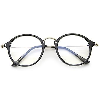 Classic Retro Lightweight Frame Metal Temple Clear Lens Round Glasses 47mm