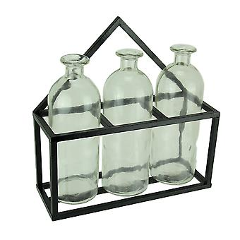 3 Piece Glass Jar Bud Vases in Wall Mounted Metal Tray