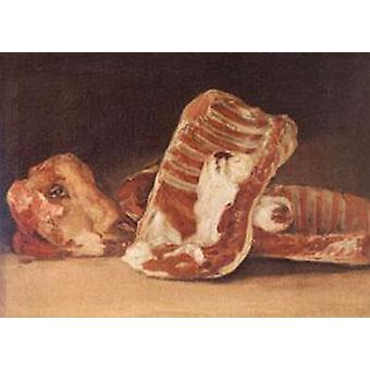 Still Life with Sheep ' 's Head, Francisco de Goya, 45x62cm