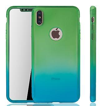 Apple iPhone skydd fallet full täcker tank skydd glas grön / blå XS Max mobil fall
