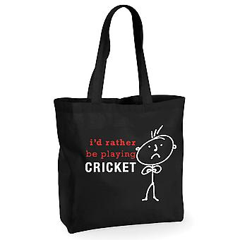 Mens I'd Rather Be Playing Cricket Black Cotton Shopping Bag