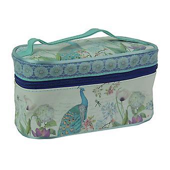 青孔雀プリント ポータブル ストレージと旅行用化粧バッグ