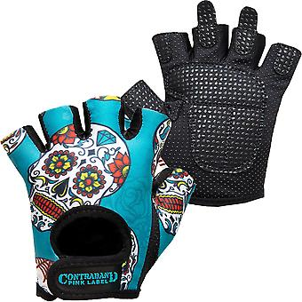 Contraband Sports 5237 Pink Label Sugar Skull Weight Lifting Gloves - Green