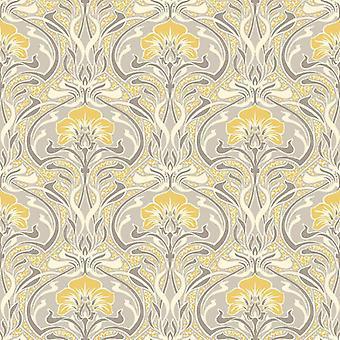 Retro Damask Wallpaper Vintage Flora Nouveau Metallic Silver Grey Yellow Crown