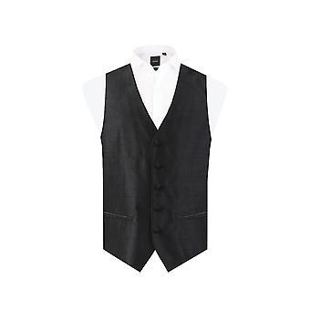 Dobell Mens Black Waistcoat Regular Fit Dupion 5 Button