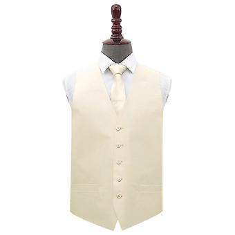 Beige Plain shantung bröllop väst & amp; Tie set