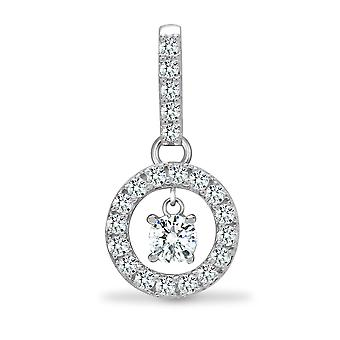 Jewelco London Solid 18ct White Gold 4 Claw Set Round G SI1 0.37ct Diamond Halo Swing Solitaire Pendant