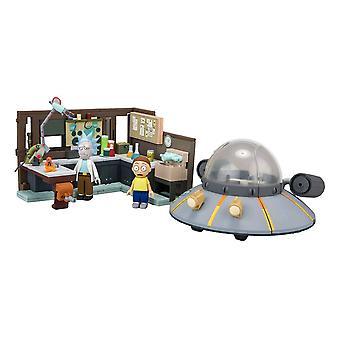 Rick en Morty ruimteschip en garage grote bouw set