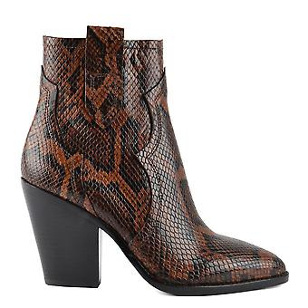 Ash ESQUIRE Heeled Boots Brown Snake Print