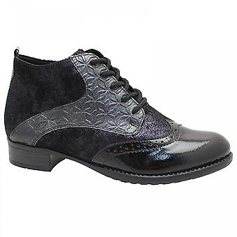 Remonte Blue Brogue Style Lace Up Ankle Boot