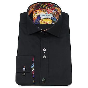 Guide London Multicolour Peacock Trim Print Pure Cotton Long Sleeve Mens Shirt