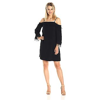 kensie Women's Crosshatch Rayon Lace Cold Shoulder Dress, Black, M