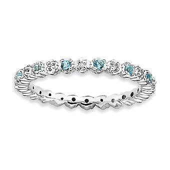 925 Sterling Silver Polished Prong conjunto Rhodium plated Stackable Expressions Blue Topaz e Diamond Ring Jewely Gifts fo