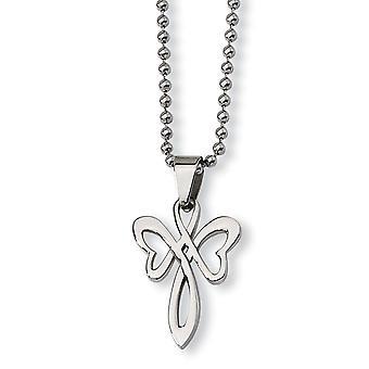 Roestvrij staal gepolijst Fancy Kreeft Sluiting religieuze geloof kruisketting 22 Inch sieraden geschenken voor vrouwen