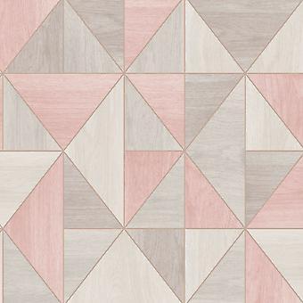 Apex Wood Grain Geometric Wallpaper Fine Decor