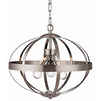 Firstlight Healey 3 ljus bur hängande ljus borstat stål 3709BS