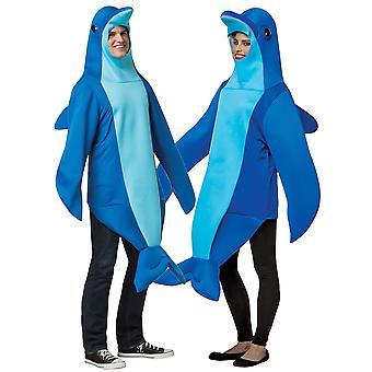 Delfin havsdjur vattenlevande däggdjur blå fisk vuxen Womens kostym