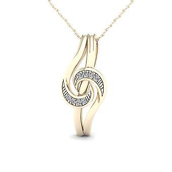Igi certified 10k yellow gold 0.03ct tdw diamondpendant necklace