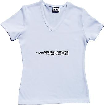 Conformity Means Death - Bertrand Russell V-Neck White Women's T-Shirt