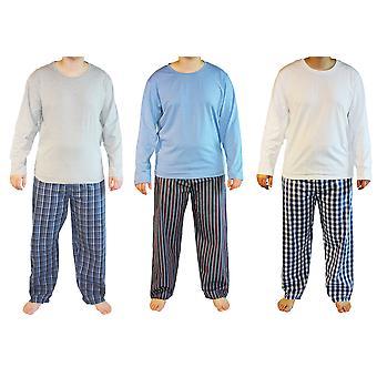 Haigman męskie bawełniane piżamy z długim salon nosić (zestaw 3)