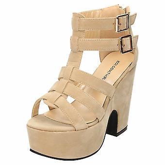 Koi Footwear Chunky Platform High Heel Gladiator Sandals Shoes Faux Suede