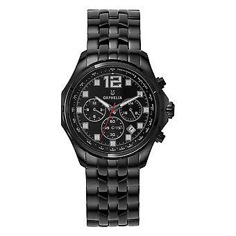 ORPHELIA mannen Dual Time Watch zwart roestvrij stalen OR82701
